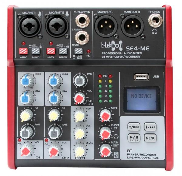 EL172578 E-Lektron SE-4 Live Mischpult 2-Kanal + stereo AUX / USB / BT