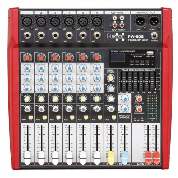 EL172580 E-Lektron PW-608 Live Power-Mixer 6-Kanal + stereo MP3 & AUX