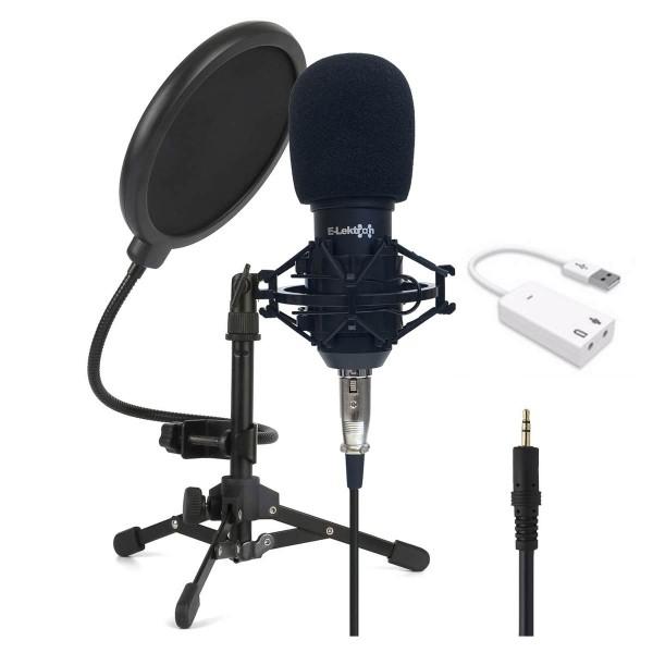 EL173531 E-Lektron KM800 Recording Kondensator-Mikrofon Set inkl. USB-Soundkarte