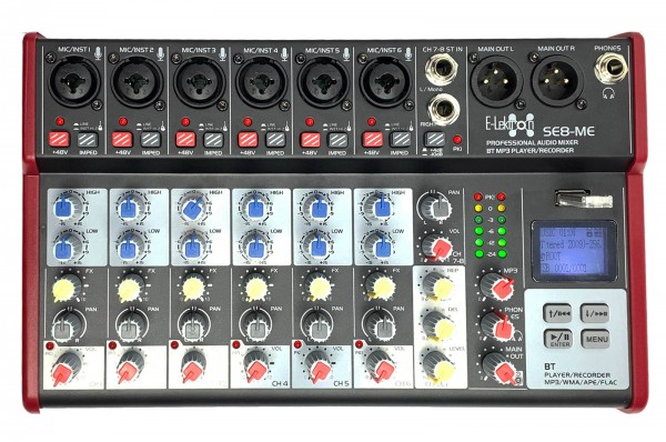EL172586 E-Lektron SE-8 Live Mischpult 6-Kanal + stereo AUX / USB / BT