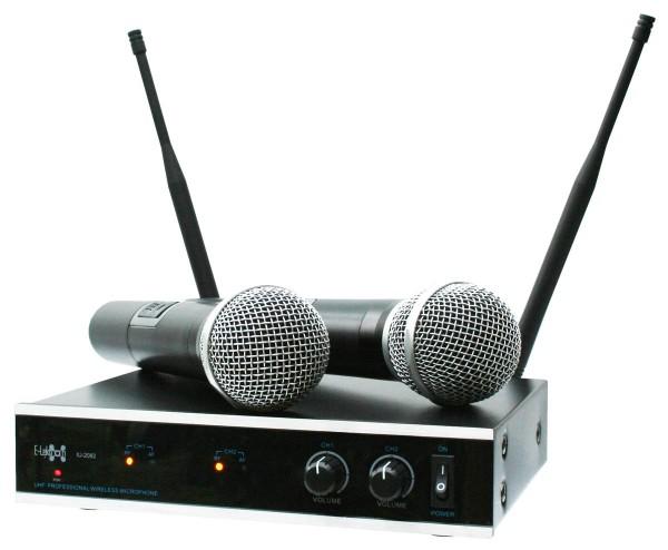 EL173760 E-Lektron IU-2082 UHF Funkmikrofon System mit 2 Handmikrofone