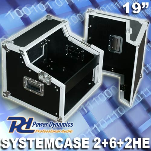 "EL171789 Power Dynamics F2U6-2 Flightcase Systemcase 19"" - 2/6/2 HE"
