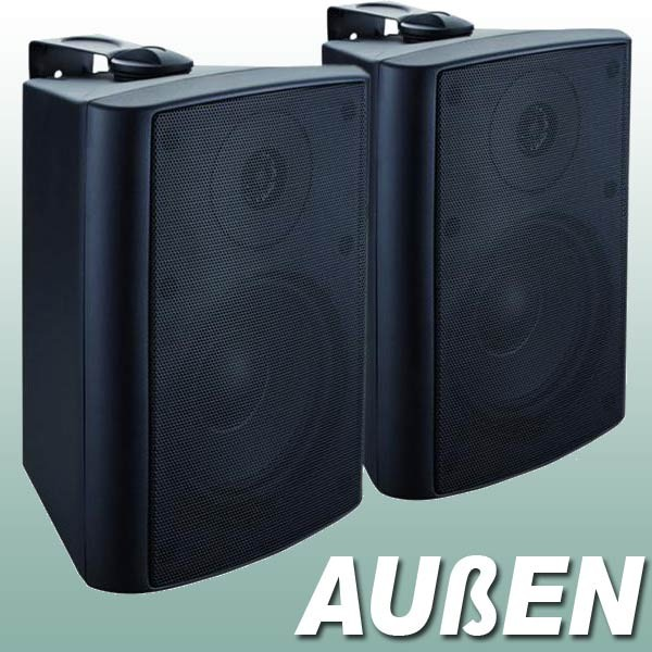 EL100023 Stereo außen Lautsprecher Paar mit Wandhalter PA50