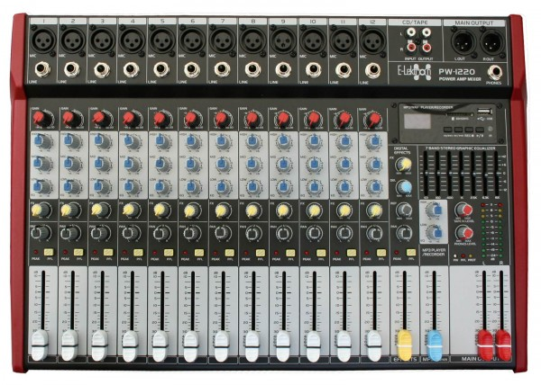 EL172589 E-Lektron PW-1220 Live Power-Mixer 12-Kanal + MP3 & AUX
