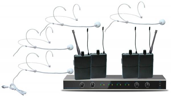 EL173781 E-Lektron IU-4011H UHF Funkmikrofon System mit 4x Headset